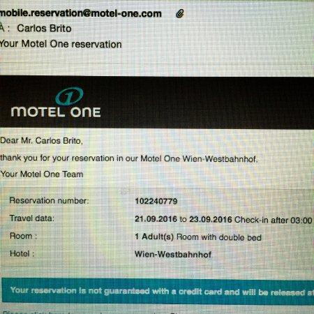 موتل وان وين - ويستبانهوف: Reservation via Iphone app