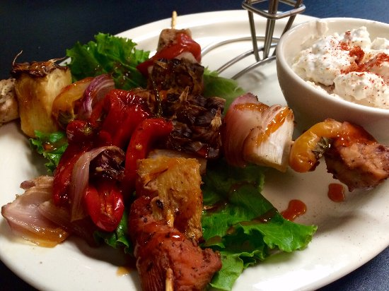 Clinton, AR: Margarita Marinaded Kebabs with House Potato Salad