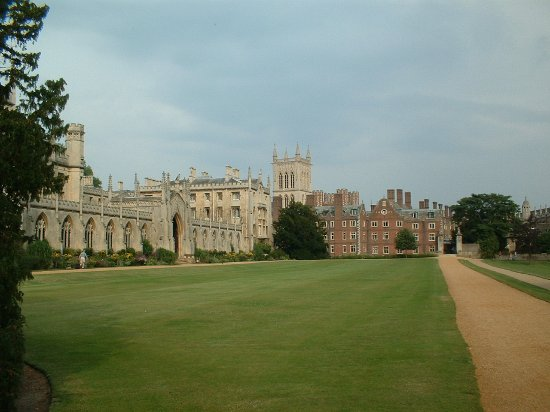 St. John's College: St John's Cambridge, New Court (on left), Chapel (distance) River in between, from the Backs