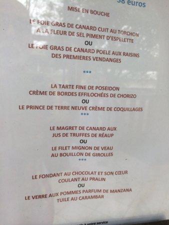 Sainte-Maure-de-Peyriac, France: menu de ce dimanche pour 38 euros