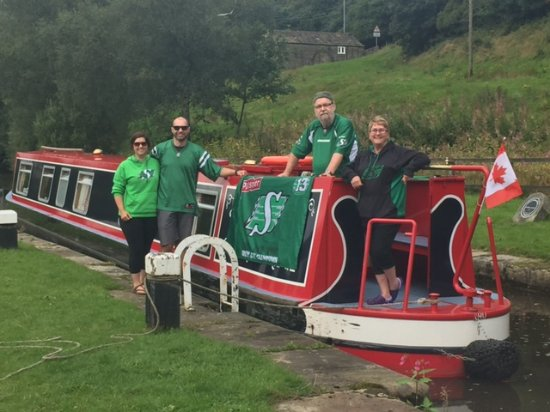 Sowerby Bridge, UK: Our canadian football game day photo. Go Riders!!