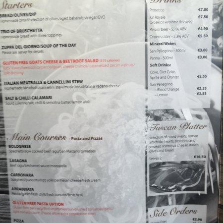 Dalkey, Irlanda: Good menu!