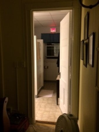 463 Beacon Street Guest House: Night view from my room through bathroom to fire escape