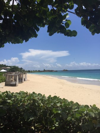 Turners Beach, Antigua: A view of the beach and cabanas from the restaurant