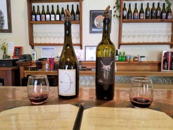 Burning Tree Cellars Tasting Room: 2 of the many wines