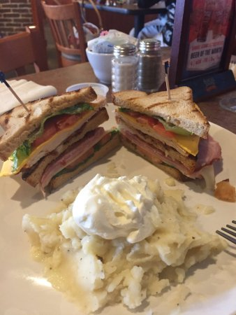 Mechanicsville, VA: Triple Decker Sandwich on Gluten Free Bread, had to 86 the french fries for Mashed Potatoes!