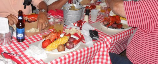 "Foster's Clambakes & Catering: ""Lobstah"", corn-on-the-cob, red potatoes, mussels and more..."