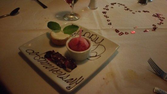 Surprise wedding anniversary dessert was delicious! picture of