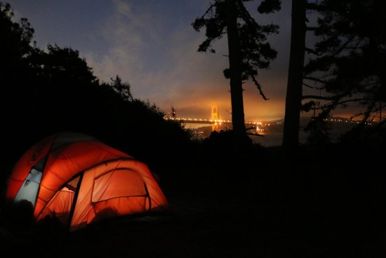 Marin Headlands: Night view of the bridge in the fog from Site #2 (Kirby Cove Campground)