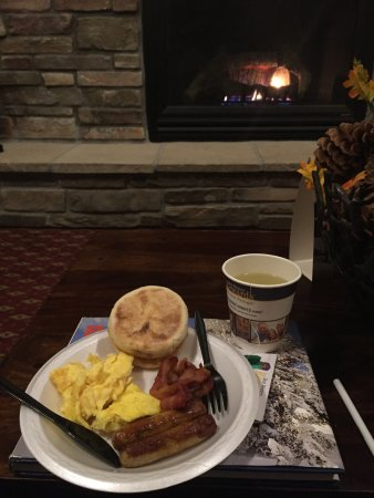 McCall, ID: Breakfast by the fire.