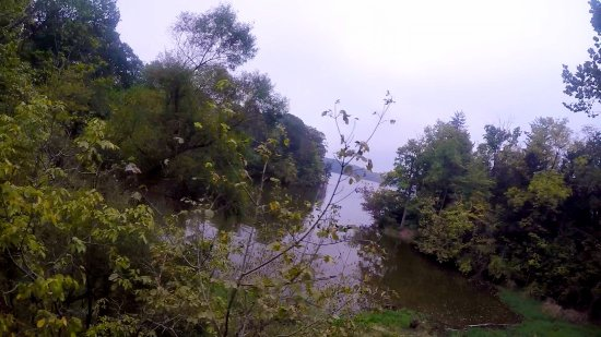 Go Ape Treetop Adventure Course: The final zipline goes just past the Eagle Creek reservoir.