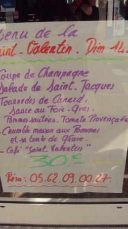"""Nogaro, France: Proposition de menu : """" Saint Valentin 2016 """""""