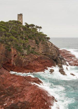 Eden, Australia: Boyd Boyd tower perched above great rock formation