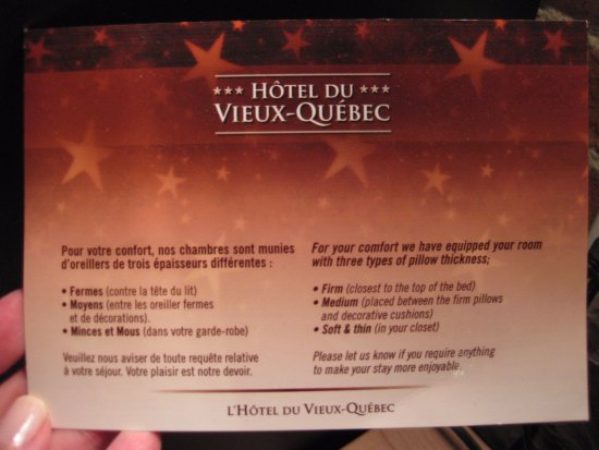 Hotel du Vieux-Quebec: Pillow Menu