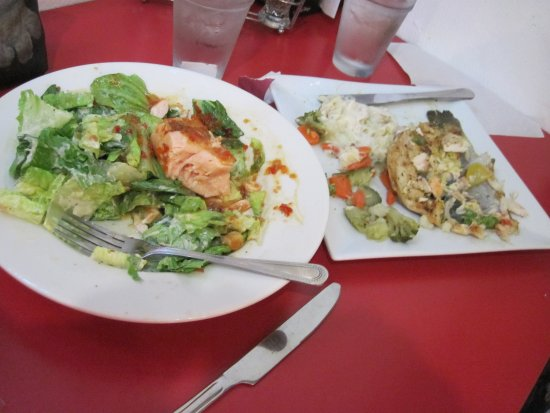 Panguitch, UT: Seared Salmon Salad and Trout with mashed potatoes and veggies