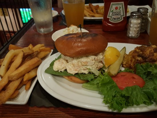 Linthicum Heights, MD: Platter with jumbo lump crab cake and shrimp salad sandwich with steak fries and cole slaw