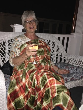 New Milford, CT: Enjoying a glass of wine under cozy fall blanket on the porch