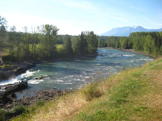 Smithers, Canada: A view of the rushing Bulkley River.