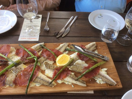 McLaren Vale, Austrália: KI King George Whiting with double cured prociutto and asparagus