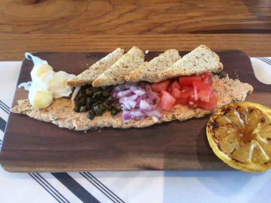 Buckeye, AZ : Smoked Salmon Spread, poached quail eggs, crispy capers etc