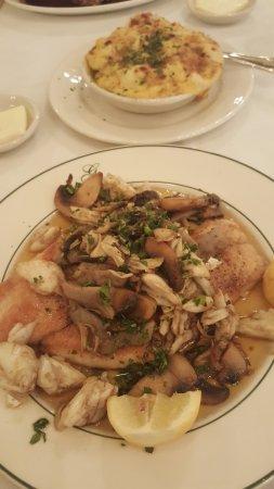 Galatoire's Restaurant: Black Drum topped with lump Crab meat. Cauliflower Au Gratin side