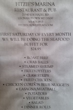 Leonardtown, MD: Fitzie's Saturday Seafood Buffet Menu