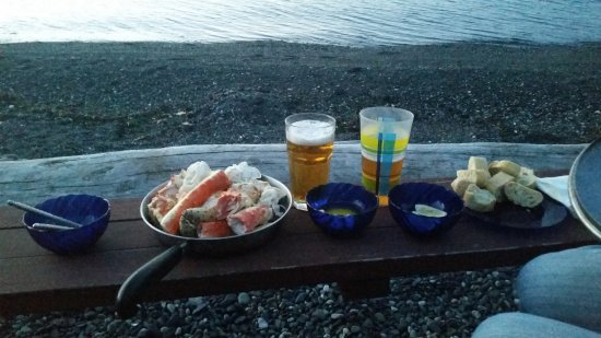 Eastsound, WA: King Crab legs baguette butter ipa....dinner overlooking the ocean.
