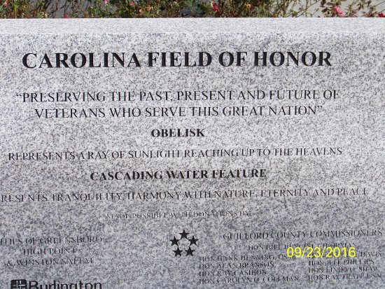 Kernersville, NC: Carolina Field of Honor plaque