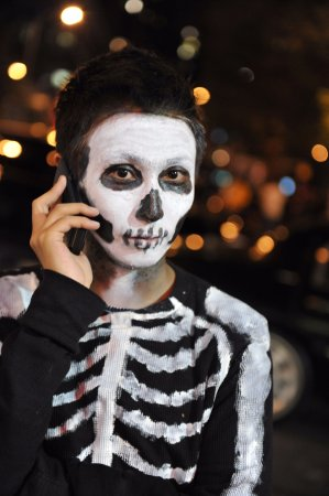 Ghosts Of New York: Skeleton taking a telephone call during our Ghosts of the Upper West Side Tour