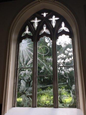 Moreton, UK: One of the Laurence Whistler windows