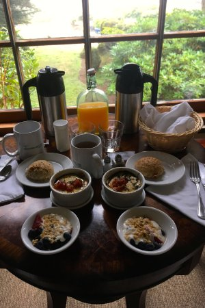 Little River, CA: 3 course breakfast in the room - an egg dish each morning from the Inn's chickens, bread & fruit