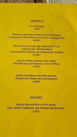 Xanten, ألمانيا: die Speisekarte