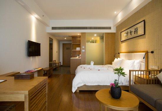 Anji County, Китай: 高级大床房,1张一米八的大床