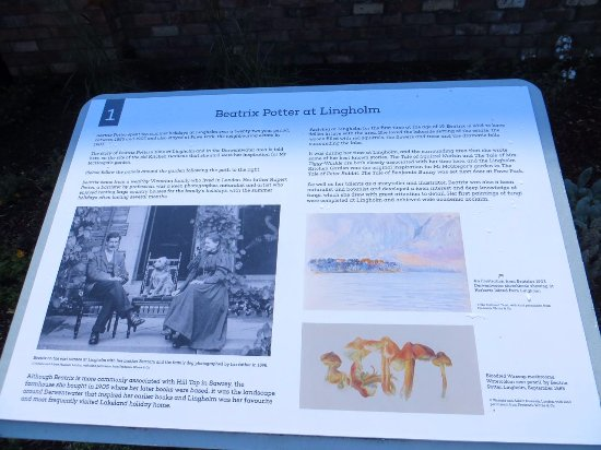 Portinscale, UK : Beatrix Potter information in walled garden 1
