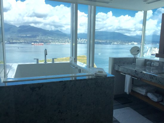 Fairmont Pacific Rim: Ofuro Marble Bathroom Soaker Tub Views from 19th floor