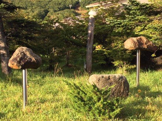 Nasu Mount Hotel : 岩に鉄の棒が刺さったものが立ってる、謎のオブジェ(笑)
