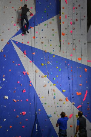 Kinlochleven, UK: David and John on the brand new main climbing wall at Ice factor