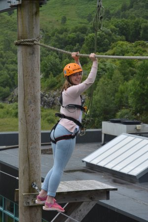 Kinlochleven, UK: Having a go on the aerial Assault course