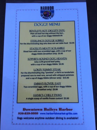 Baileys Harbor, WI: Love the Doggy Menu!