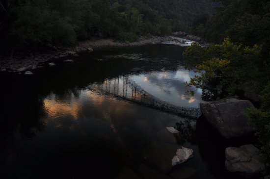 Lansing, WV: New Gauley River and reflection of the Bridge.