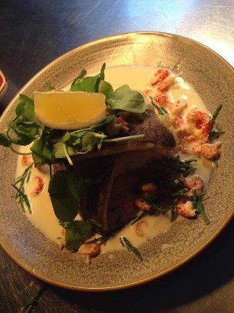 Alderley Edge, UK: Sea Bass with white wine & cream sauce, crayfish & samphire