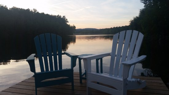 Lee, MA: dock at sunset