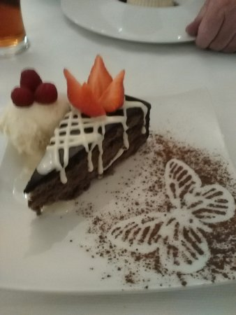 West Bromwich, UK: My gorgeous chocolate cake with ice-cream raspberries and strawberry .