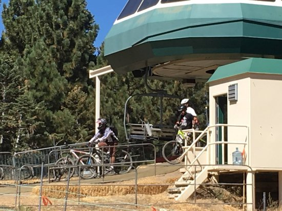 Snow Summit: Riders claiming their bikes and heading off the lift.