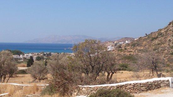 Μυλοπότας, Ελλάδα: Vue sur la baie de Mylopotas en contrebas depuis la piscine.
