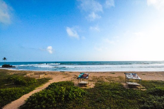 Western Region, Ghana: Beach view from our bamboo tower