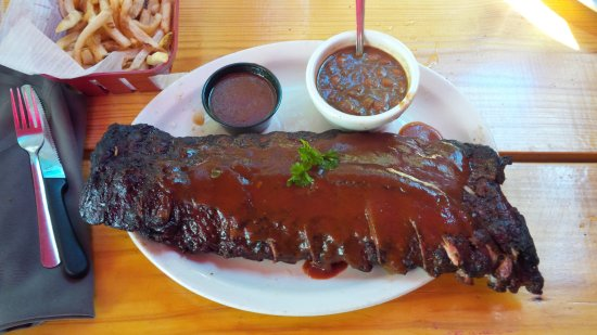 County Line Barbeque River Walk Baby Back Ribs Beans And Fries