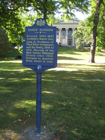 Altoona, PA: Historical Marker with the Baker Mansion in the Background
