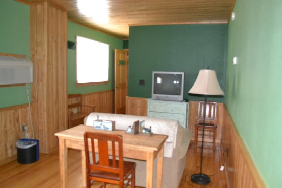 Ely, MN: The Evergreen Room loveseat and television