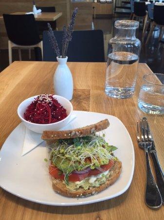 living kitchen avocado basil sandwich and beet salad - Living Kitchen Raleigh